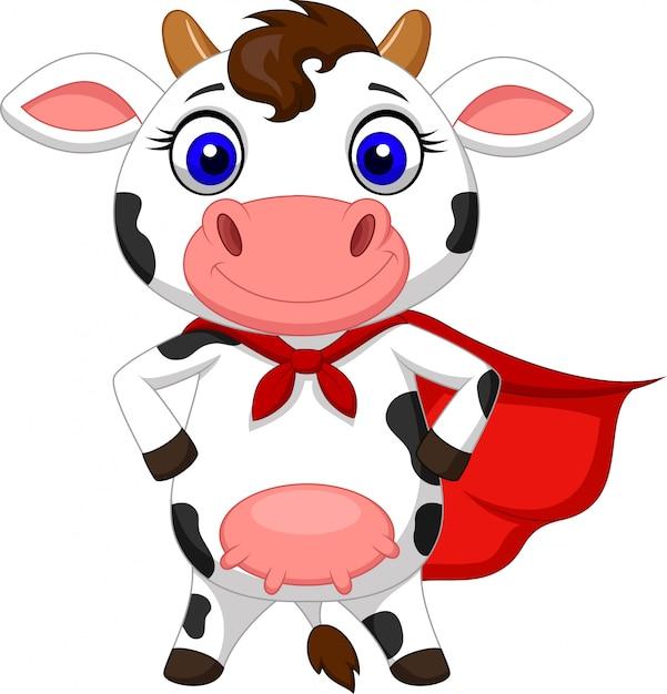 スーパーヒーロー牛の漫画ポーズ Premiumベクター