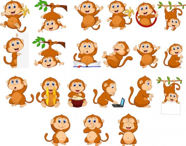 さまざまなアクションの漫画の幸せな猿のコレクション Premiumベクター