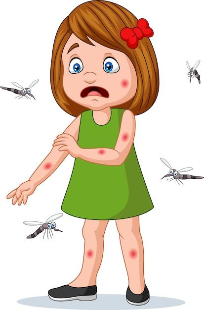 Мультяшная маленькая девочка укушена комарами Premium векторы