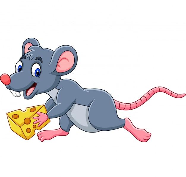 チーズのスライスを実行している漫画のマウス Premiumベクター
