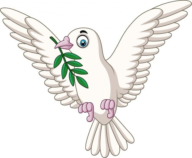 オリーブの枝を持つ漫画鳩 Premiumベクター