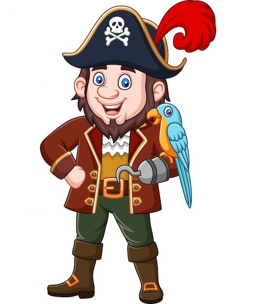 Мультфильм пиратский капитан и ара птица Premium векторы