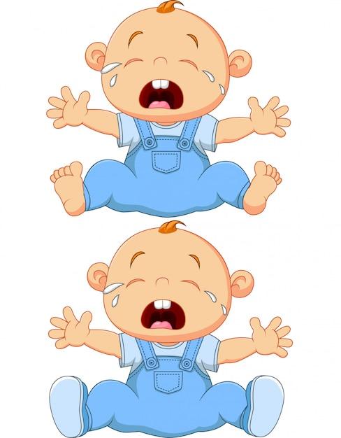 漫画泣いている赤ちゃん双子の白い背景で隔離 Premiumベクター