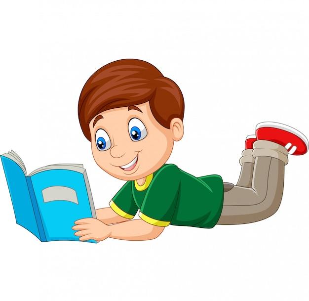 敷設と本を読んで漫画少年 Premiumベクター