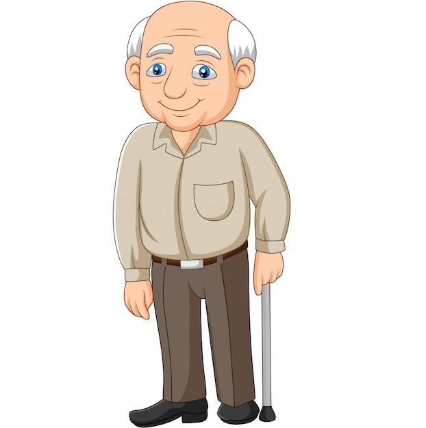 漫画シニア高齢者老人 Premiumベクター