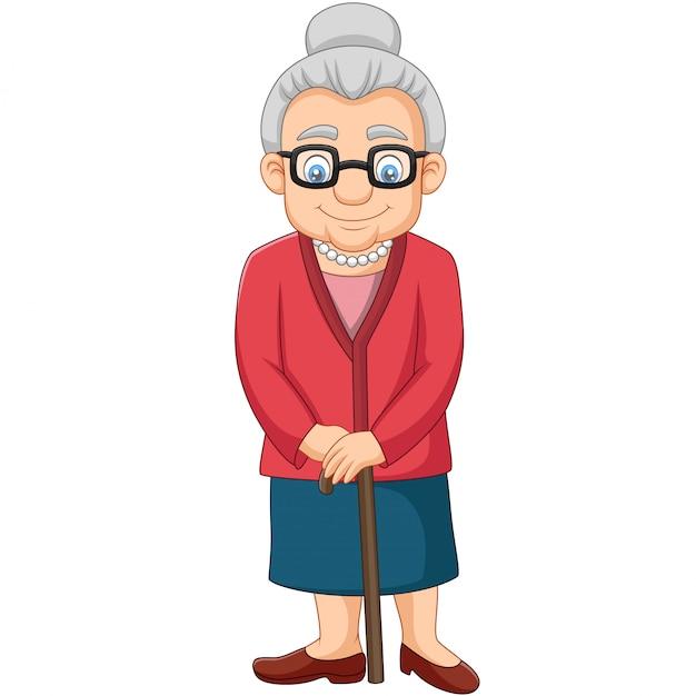 杖を持つ漫画老婦人 Premiumベクター