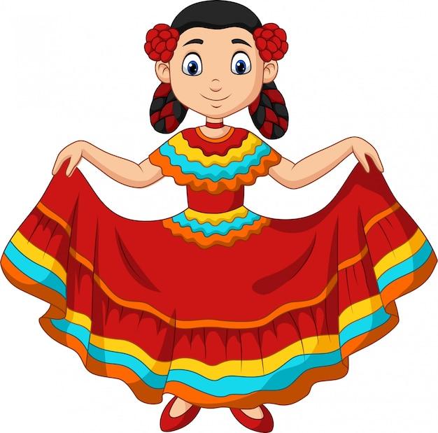 Мультфильм девушка танцует, праздник синко де майо Premium векторы