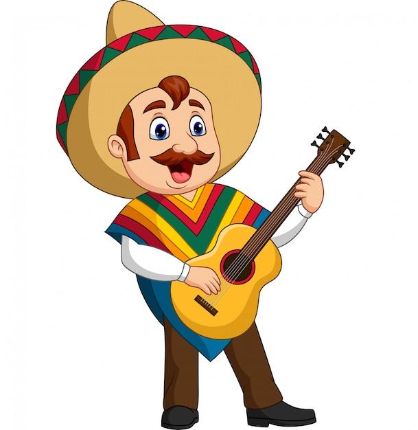 Мультфильм мексиканца играет на гитаре и поет Premium векторы