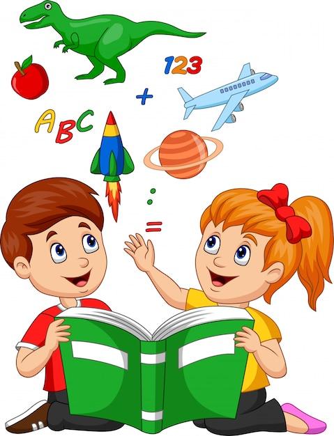 本教育概念を読んで漫画の子供たち Premiumベクター
