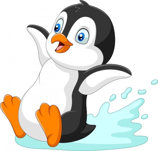Мультфильм пингвин скольжения по воде Premium векторы