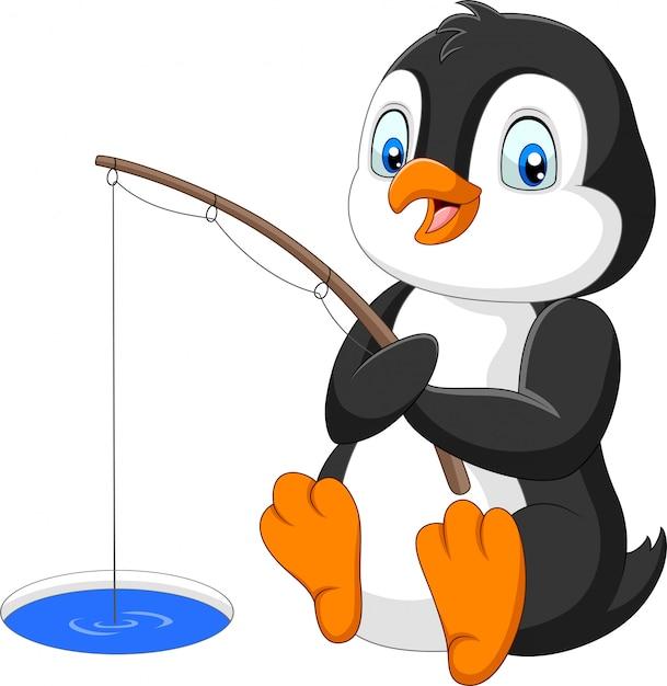 Мультяшный пингвин, ловящий рыбу на арктическом льду Premium векторы