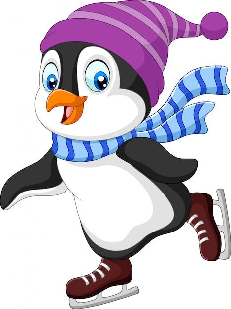 Мультяшный пингвин на коньках Premium векторы