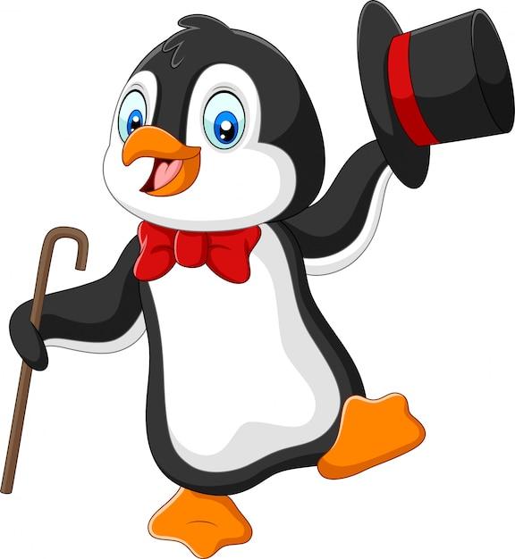 Мультяшный пингвин держит шляпу и трость Premium векторы