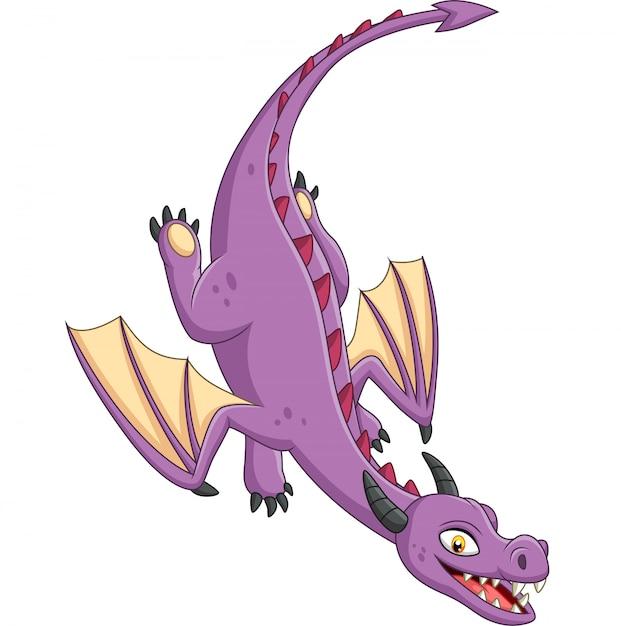 白い背景の上を飛んで漫画ドラゴン Premiumベクター
