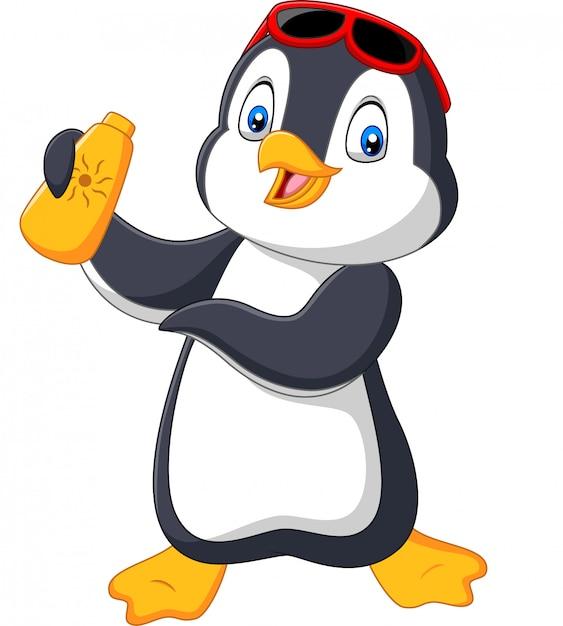 Мультяшный пингвин держит крем от загара с кремом Premium векторы