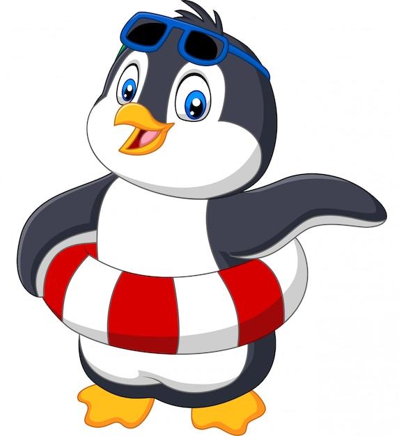 Мультяшный пингвин с надувным кольцом и солнцезащитными очками Premium векторы