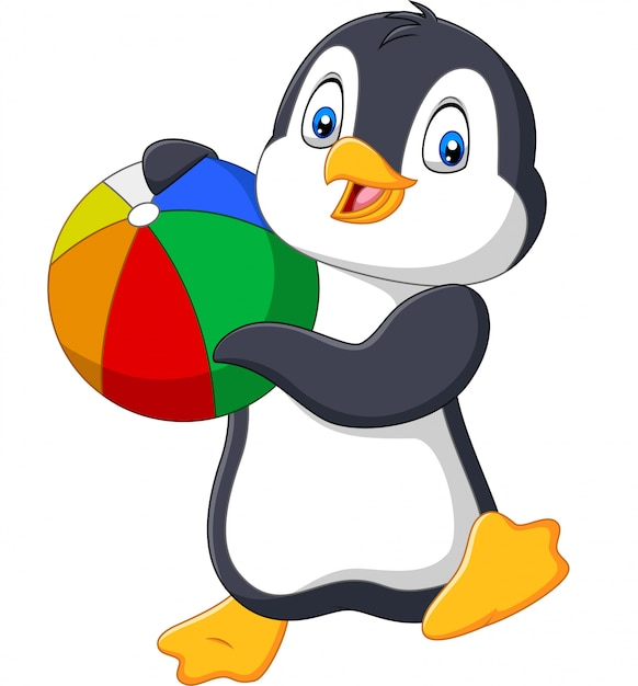 Мультяшный пингвин держит пляжный мяч Premium векторы