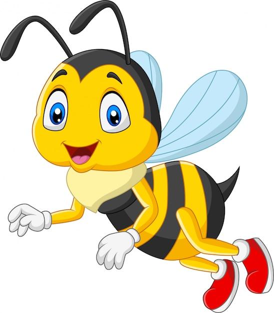 漫画幸せな蜂の白い背景で隔離 Premiumベクター