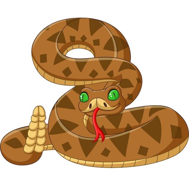 分離された漫画茶色蛇 Premiumベクター