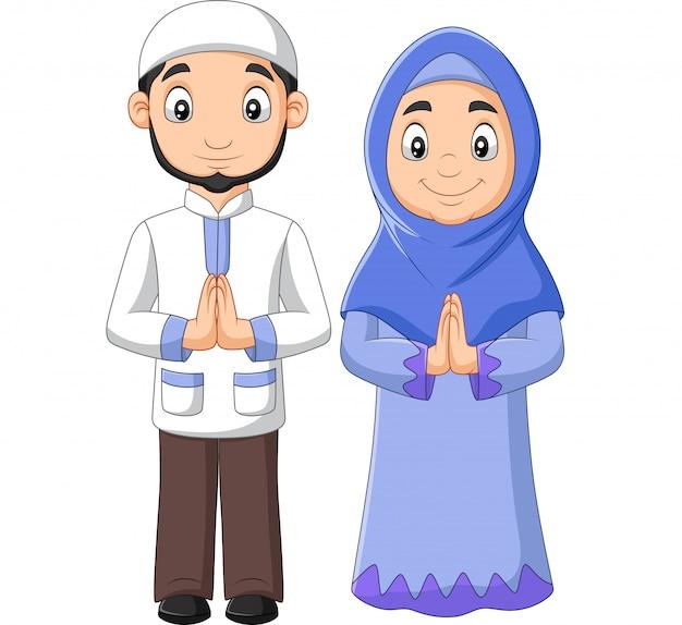 Мультяшный мусульманский мужчина и женщина пара Premium векторы