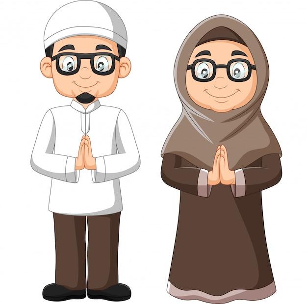 漫画の古いイスラム教徒のカップル Premiumベクター