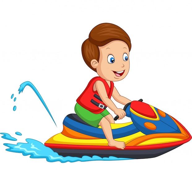 漫画の男の子がジェットスキーに乗る Premiumベクター