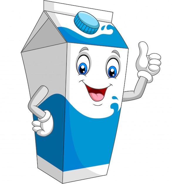 Мультфильм коробка молока дает большой палец вверх Premium векторы