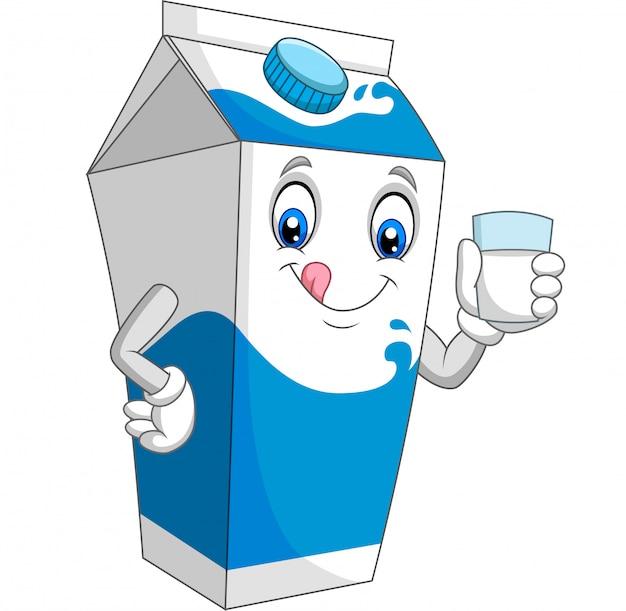 Мультяшный молочный ящик держит стакан молока Premium векторы