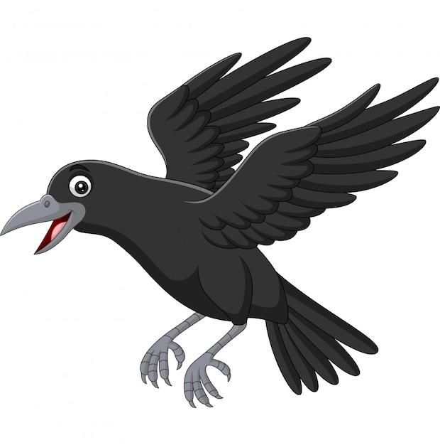 Мультяшный ворона летит на белом Premium векторы