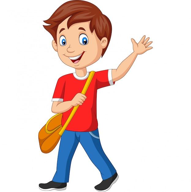 バックパックと手を振っている漫画学校少年 Premiumベクター