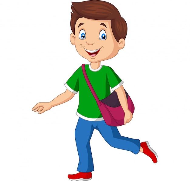 バックパックを運ぶ漫画幸せな学校の男の子 Premiumベクター