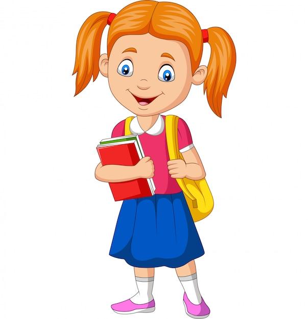 本とバックパックを運ぶ漫画幸せな学校の女の子 Premiumベクター