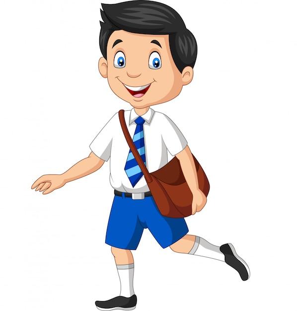 バックパックを運ぶ制服を着た漫画幸せな学校の男の子 Premiumベクター