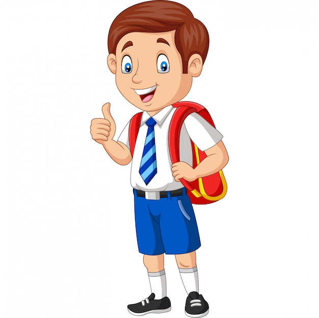 親指をあきらめて制服を着た漫画幸せな学校男の子 Premiumベクター