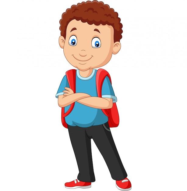 Мультяшный школьник с рюкзаком Premium векторы