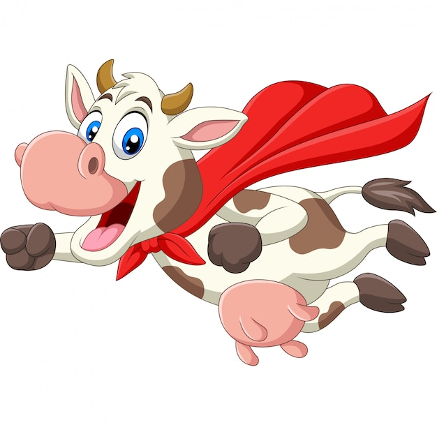 漫画かわいいスーパーヒーロー牛の飛行 Premiumベクター