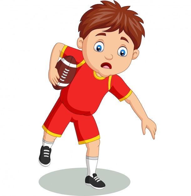 漫画の小さな男の子がラグビーをプレイ Premiumベクター