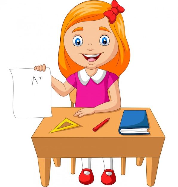 漫画のプラスグレードの紙を保持している少女 Premiumベクター