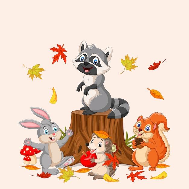 Осень с дикими животными Premium векторы