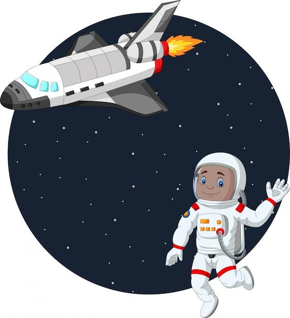 スペースシャトルで漫画少年宇宙飛行士 Premiumベクター