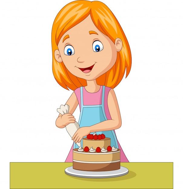 Мультфильм девушка украшает торт Premium векторы