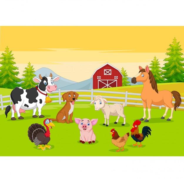Мультфильм сельскохозяйственных животных на фоне сельского хозяйства Premium векторы