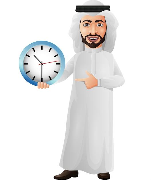 アラブのビジネスマンを保持し、壁時計を指す Premiumベクター