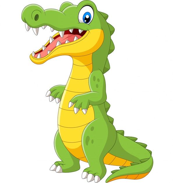 Мультяшный милый крокодил стоит на белом Premium векторы