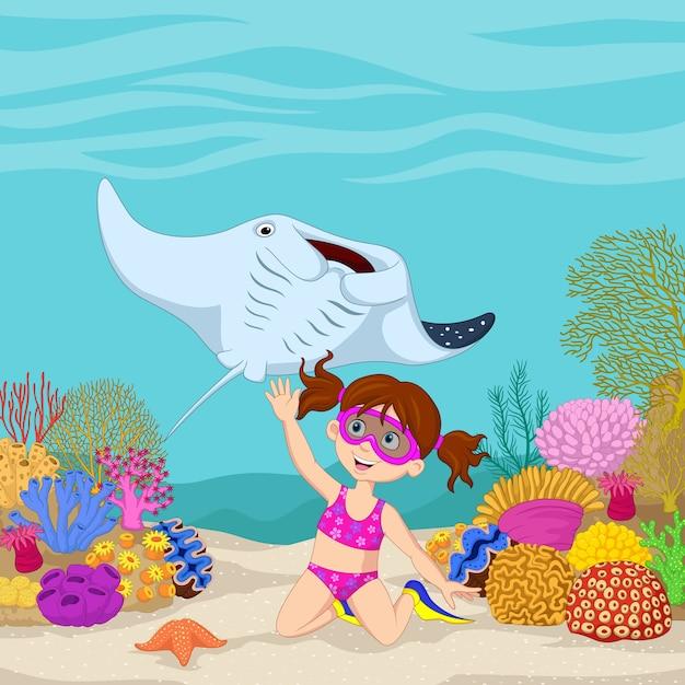 水中熱帯海で泳ぐ漫画の少女 Premiumベクター