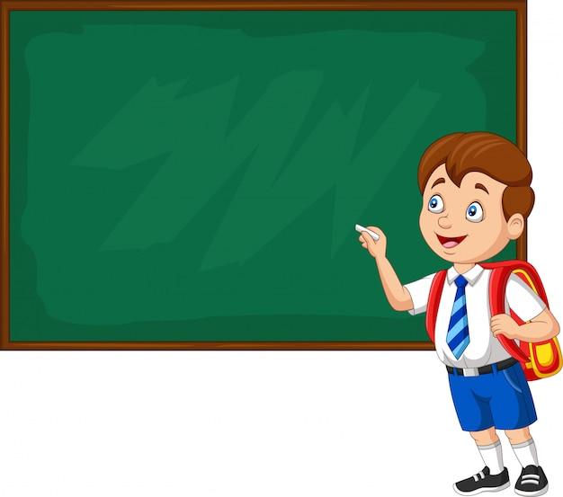Мультяшный школьник в форме письма на доске Premium векторы