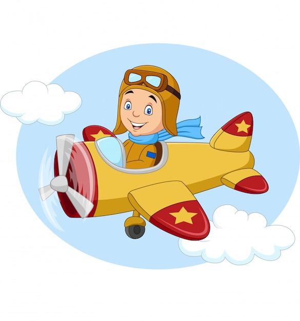 漫画の飛行機を操作する少年 Premiumベクター