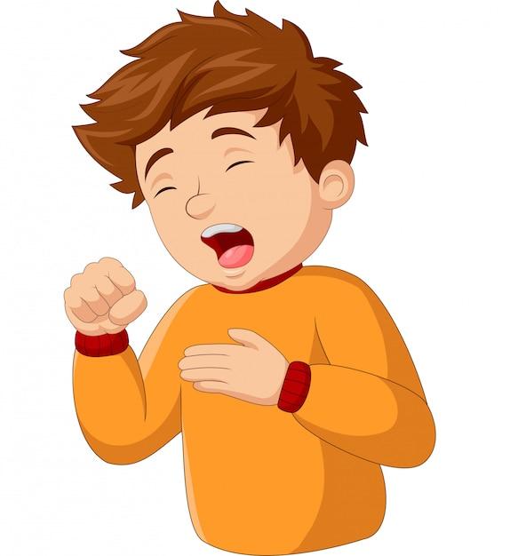 Мультфильм маленький мальчик кашляет Premium векторы