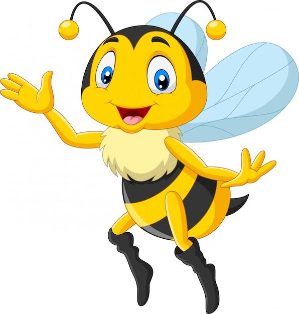 手を振って漫画幸せな蜂 Premiumベクター