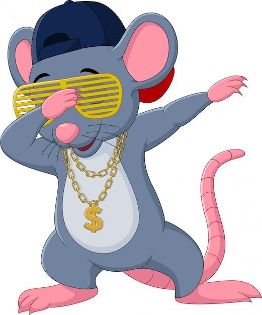 漫画のマウスを軽くたたくダンスは、サングラス、帽子、金のネックレスを着ています Premiumベクター